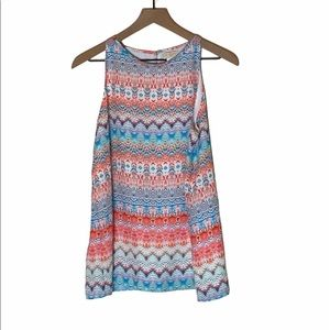 St. Tropez West colorful sleeveless top. Size Med